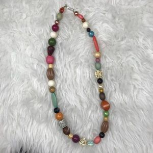 chunky multicolored long beaded necklace